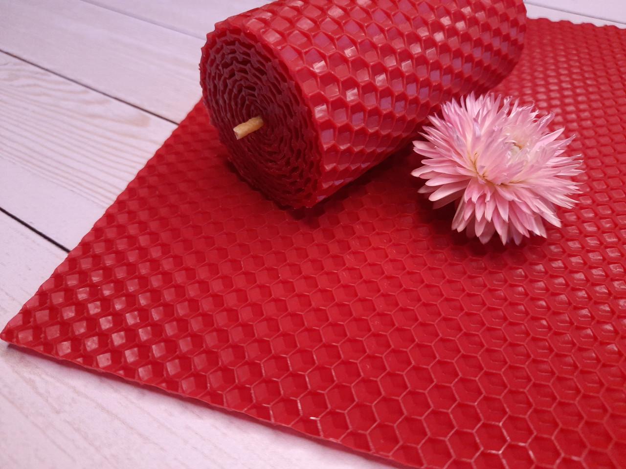 Цветная вощина для изготовления свечей, красный, лист 20х26 см