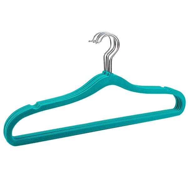 Бархатные вешалки плечики (флокированные) бирюзового цвета, 44см