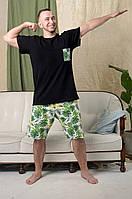 Легкая органическая мужская пижама Pijama po fanu шорты и футболка Тропики BLACK 46 48 50 52 54 56 58 (S-4XL)