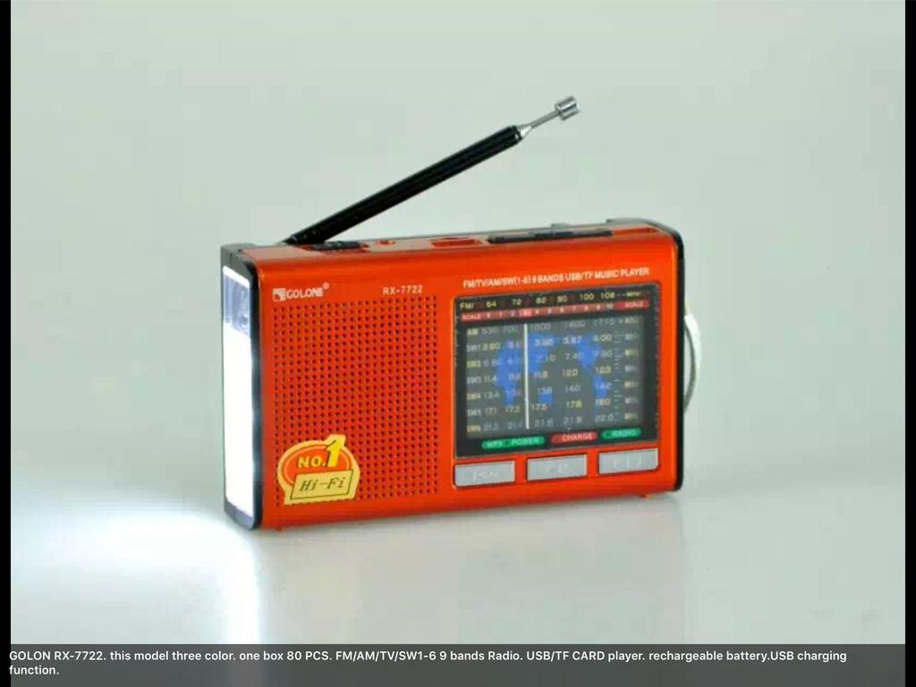 Портативный радиоприемник RX 7722 с фонариком, USB MP3 плеер