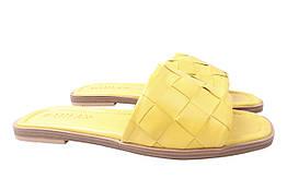 Шлепанцы женские на низком ходу из натуральной кожи, желтые Damlax Турция