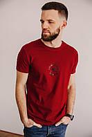Чоловіча футболка з принтом з якісного турецького трикотажу, стильна молодіжна футболка бордо