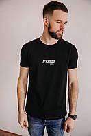 Мужская футболка с принтом из качественного турецкого трикотажа, стильная молодежная футболка черная