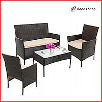 Набор садовой мебели из ротанга для дачи со столом двумя креслами диваном Комплект летней мебели для сада кафе