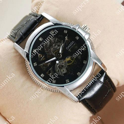 Стильные наручные часы Omega Silver/Black 1815