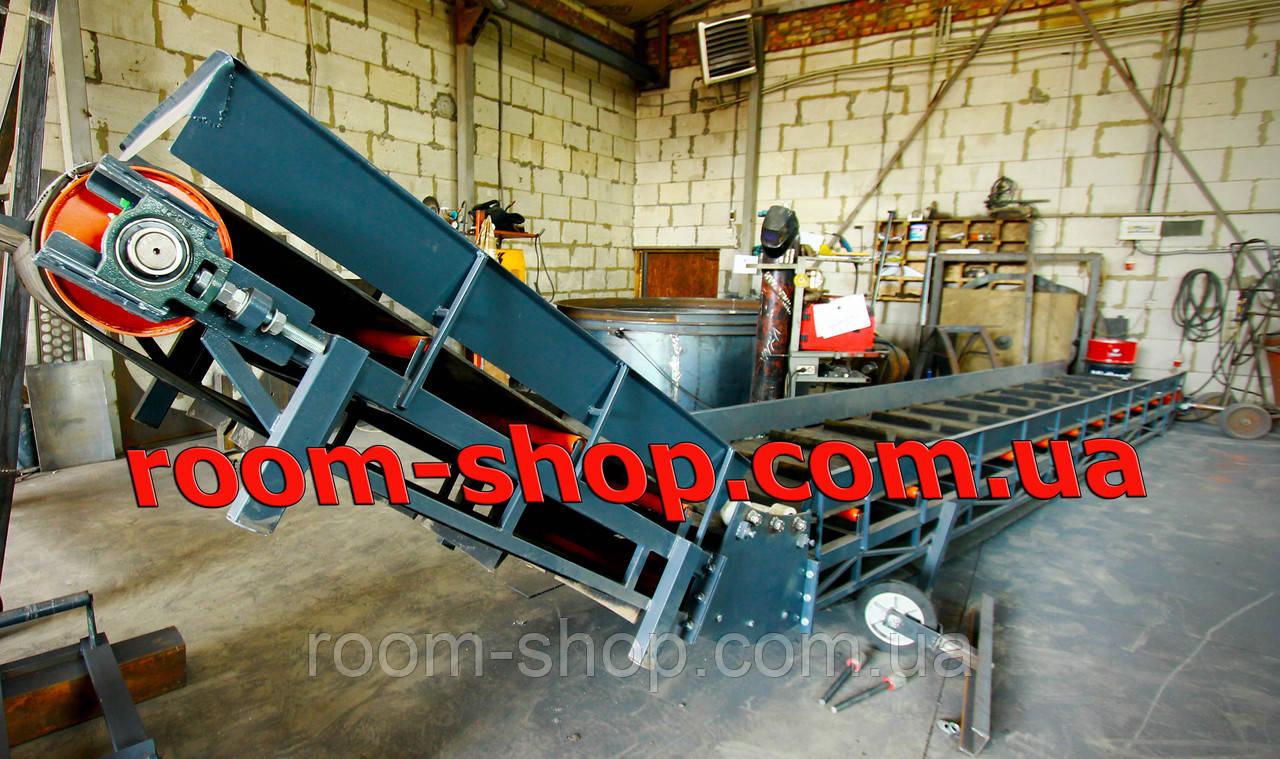 Ленточный транспортер, конвейер, навантажувач, ширина 800 мм., длина 8000 мм., под углом