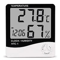 Цифровой термометр-гигрометр HTC-1, с часами и будильником