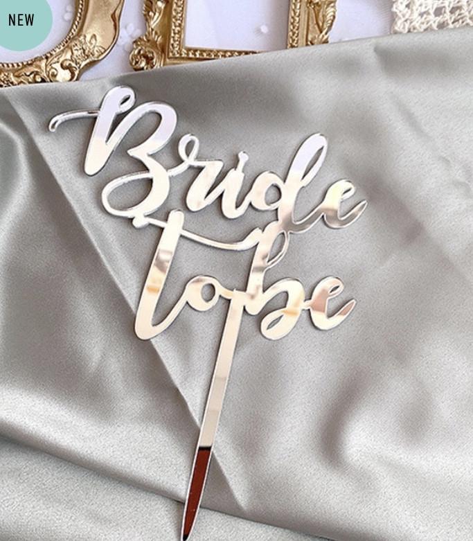 """Топпер для торта на дівич-вечір """"to be Bride"""" (срібло)"""