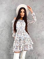 Платье женское короткое с корсетом шифон цветастое
