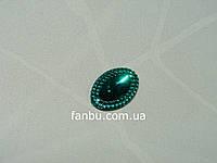 Зелені гранчасті переливаються стрази, довжиною 1,8 см, фото 1