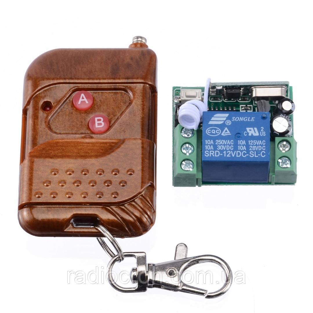 433МГц одноканальний бездротовий вимикач на 12В з таймером + Пульт (висока дальність)