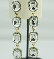 Женские длинные серьги с кристаллами. Сияющие серьги оптом. 356