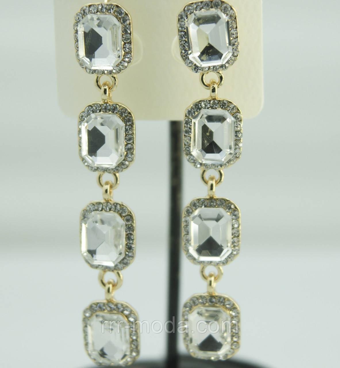 Женские длинные серьги с кристаллами. Сияющие серьги оптом 602