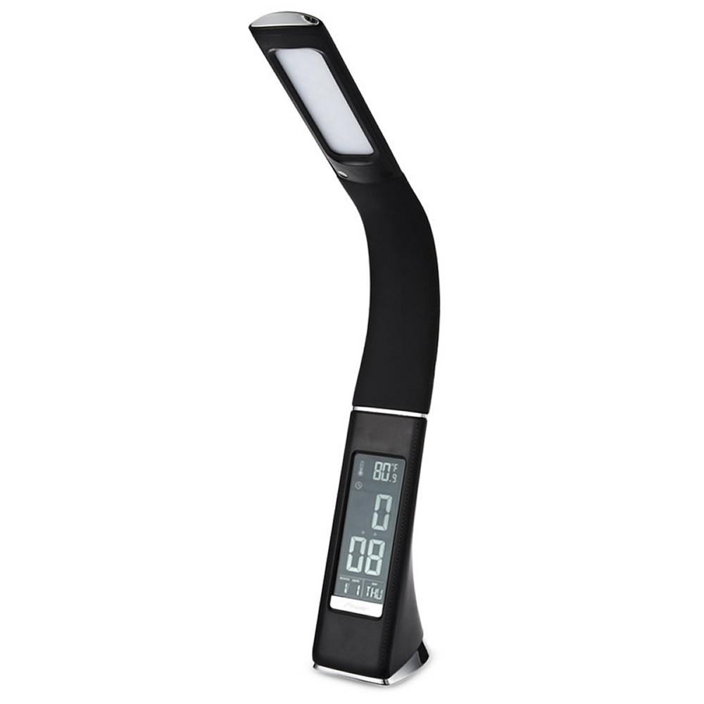 Настольная лампа Lightrich T-158 c часами и термометром, Black