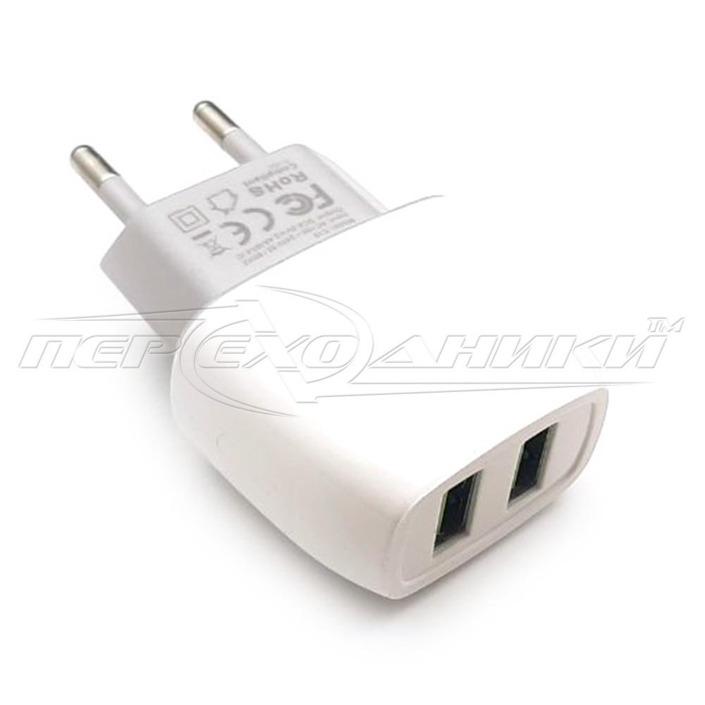 Мережевий зарядний пристрій USB 5V, 2.4 A (2USB)