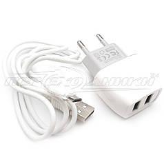 Сетевое зарядное устройство USB 5V, 2.4A (2USB)+ кабель USB to micro USB, 1м