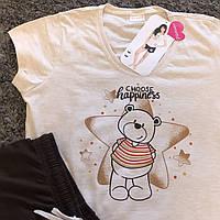 Женская пижама летняя / Пижама женская хлопок / Жіноча піжама шорти і футболка