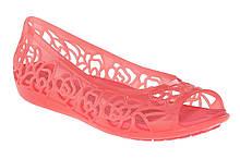 Босоножки балетки для девочки Кроксы Изабелла / Crocs Girls' Isabella Jelly Flat Juniors (203282), Коралловые