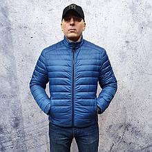 Мужская демисезонная куртка Vavalon kd-2009. Мужская стеганая куртка голубого цвета.