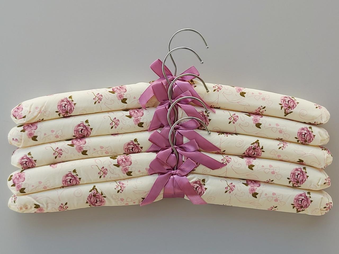 Довжина 38 см. Плічка тканинні м'які Квіти, 5 штук в упаковці