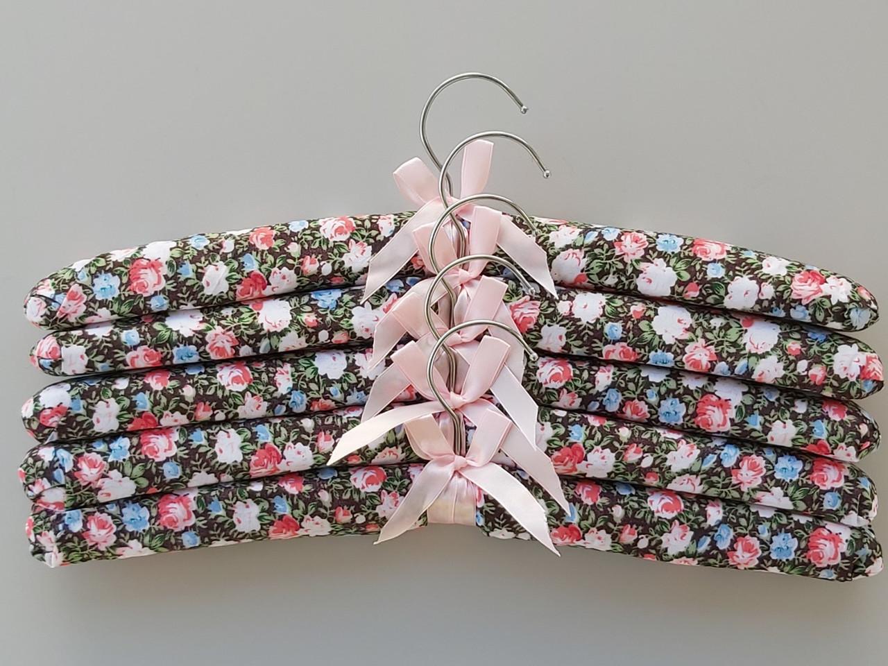 Длина 38 см. Плечики тканевые мягкие Цветы, 5 штук  в упаковке