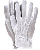 Перчатки для официантов, ювелиров Reis парадные белые со строчками размер М