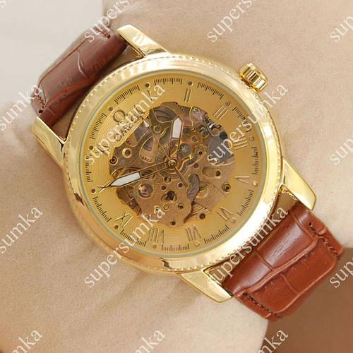 Яркие наручные часы Omega Diamonds Brown/Gold/Gold co-axial escapement 1833