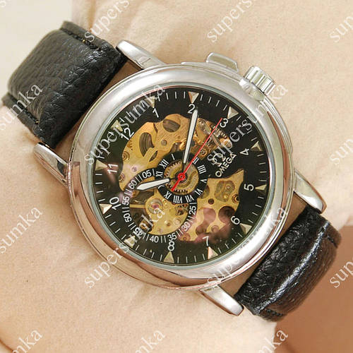 Стильные наручные часы Omega Silver/Black 1835
