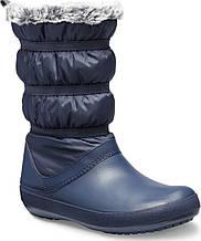 Сапоги зимние женские непромокаемые дутики с мехом / Crocs Women's Crocband Winter Boot (205314), Темно-синие