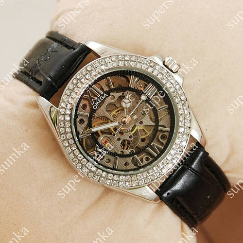 Стильные наручные часы Omega Women Silver/Black 1840