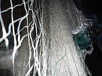 Сеть одностенка,нитка,вшитый груз,белого цвета,высота 3м,длина 100м,ячейка 35мм.