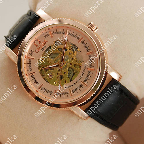 Элегантные наручные часы Omega Black/Pink-Gold/Pink-Gold 1843