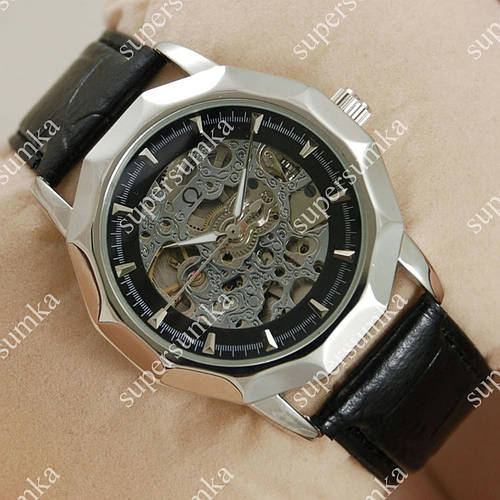Элегантные наручные часы Omega Silver/Black 1845