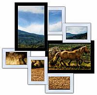 """Рамки для фотографий на 7 фото""""Волна Любви"""" (черно-белая)"""