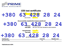 IMS TEST FOR CHIEF ENGINEER & 2ND ENGINEER (Prime Marine)
