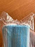 Медична 3-х шарова маска для обличчя на гумках фабрична одноразова спанбонд 50 шт., фото 6