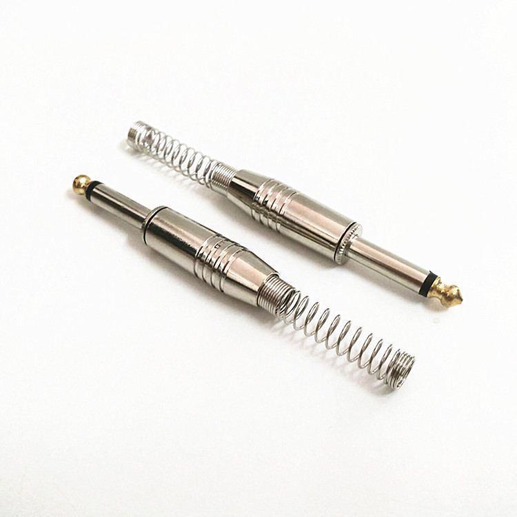Штекер джек металевий прямий 6.35 мм,з довгою пружиною моно роз'єм золотистого кольору
