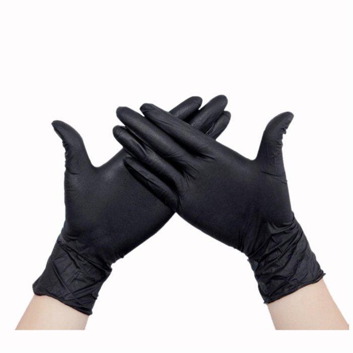 Чорні рукавички нітрилові нестерильні неопудрені для майстрів 100 шт/уп. розмір L