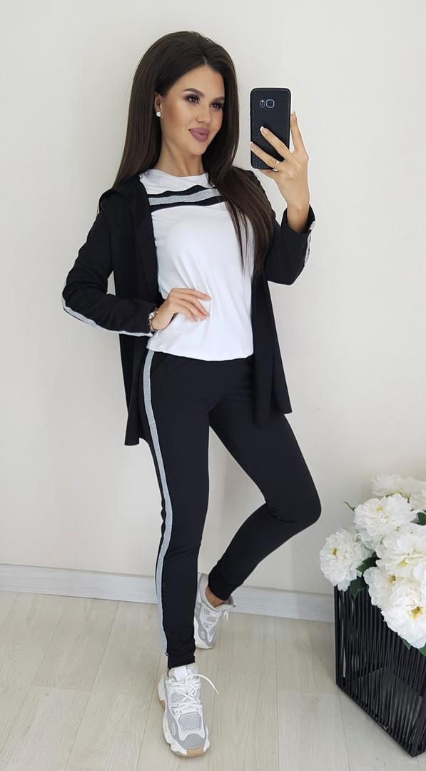 Женский спортивный костюм - тройка, турецкая двунить, р-р С-М; Л-ХЛ (чёрный)