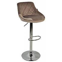 Барный стул со спинкой Bonro B-801B велюр коричневый