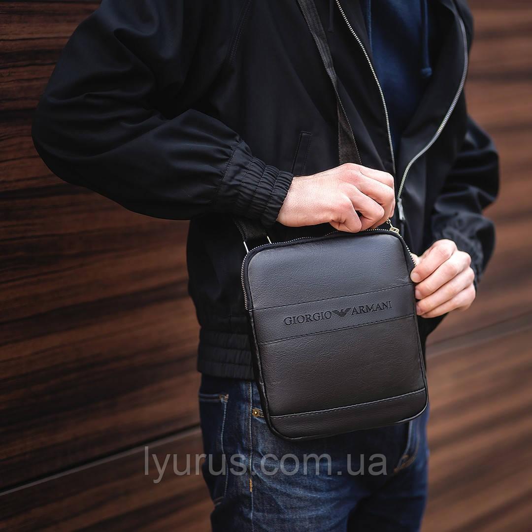 Мужска сумка через плече, барсетка Georgio Armani, армані. Чорна