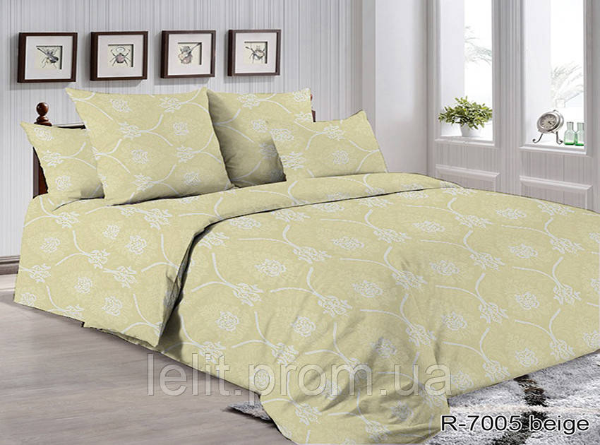Двоспальний комплект постільної білизни R7005 beige