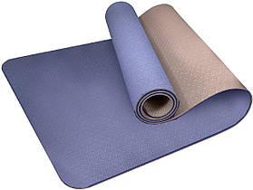 Коврик для йоги і фітнесу PowerPlay 4150 Premium TPE 183*61*0.6 см Синій