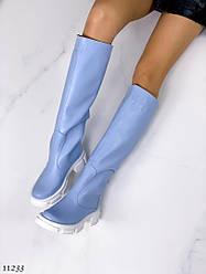 Жіночі блакитні чоботи натуральна шкіра Демі