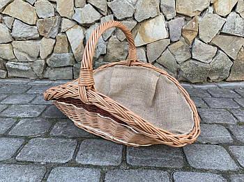 Корзина из натуральной лозы для дров с мешковиной размер S 54х30 см Польша