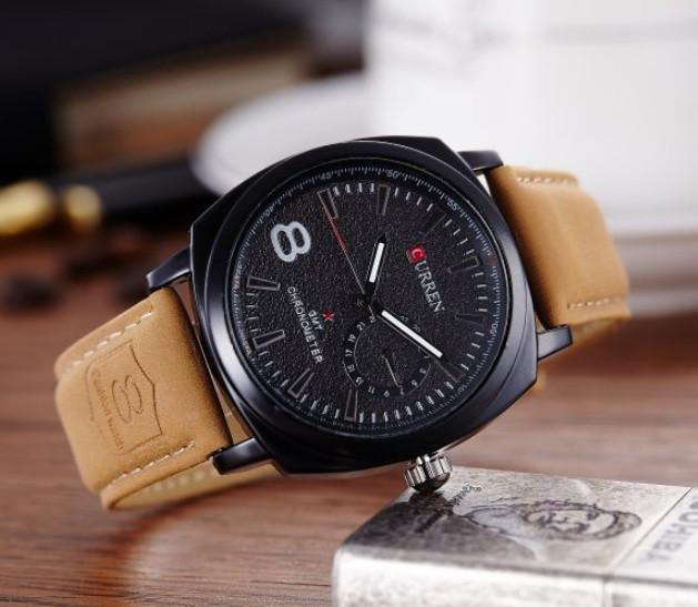 Чоловічі кварцові годинники CURREN ЧОРНІ на ремінці