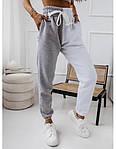 Женские спортивные штаны, турецкая двунить, р-р 42-44; 44-46 (меланж+белый), фото 3