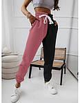 Жіночі спортивні штани, турецька двунить, р-р 42-44; 44-46 (фрез+чорний), фото 2