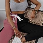 Женские спортивные штаны, турецкая двунить, р-р 42-44; 44-46 (фрез+чёрный), фото 3