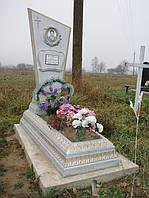 Надгробный памятник из бетона одинарный с цветником образец №2